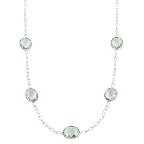 Fremada Sterling Silver Oval Green Amethyst Station Necklace (18 inch) by Overstock