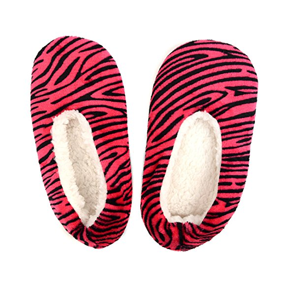 Ladies Ballerina Slippers Soft Feather Padded Gripper Soles Adults 4-7 Slipper