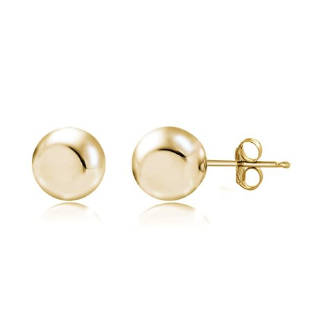 Gold Tone over Sterling Silver 3mm Polished Ball Bead Stud Earrings Beaded Silver Tone Earrings