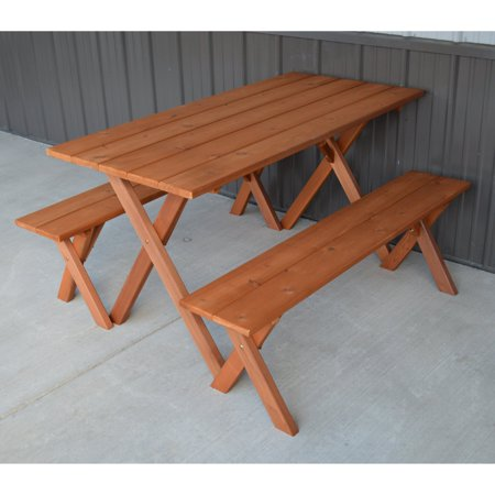 A & L Furniture Cedar 5 ft. Economy Picnic Table with 2 Benches ()