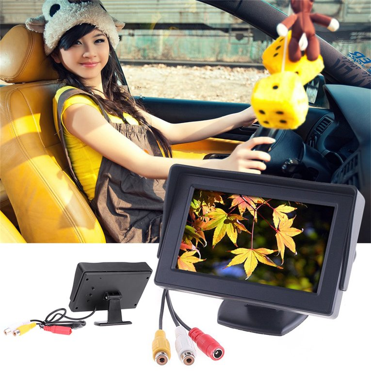 "4.3"" TFT LCD Car Monitor With Reverse Rearview Color Camera DVD VCR CCTV"