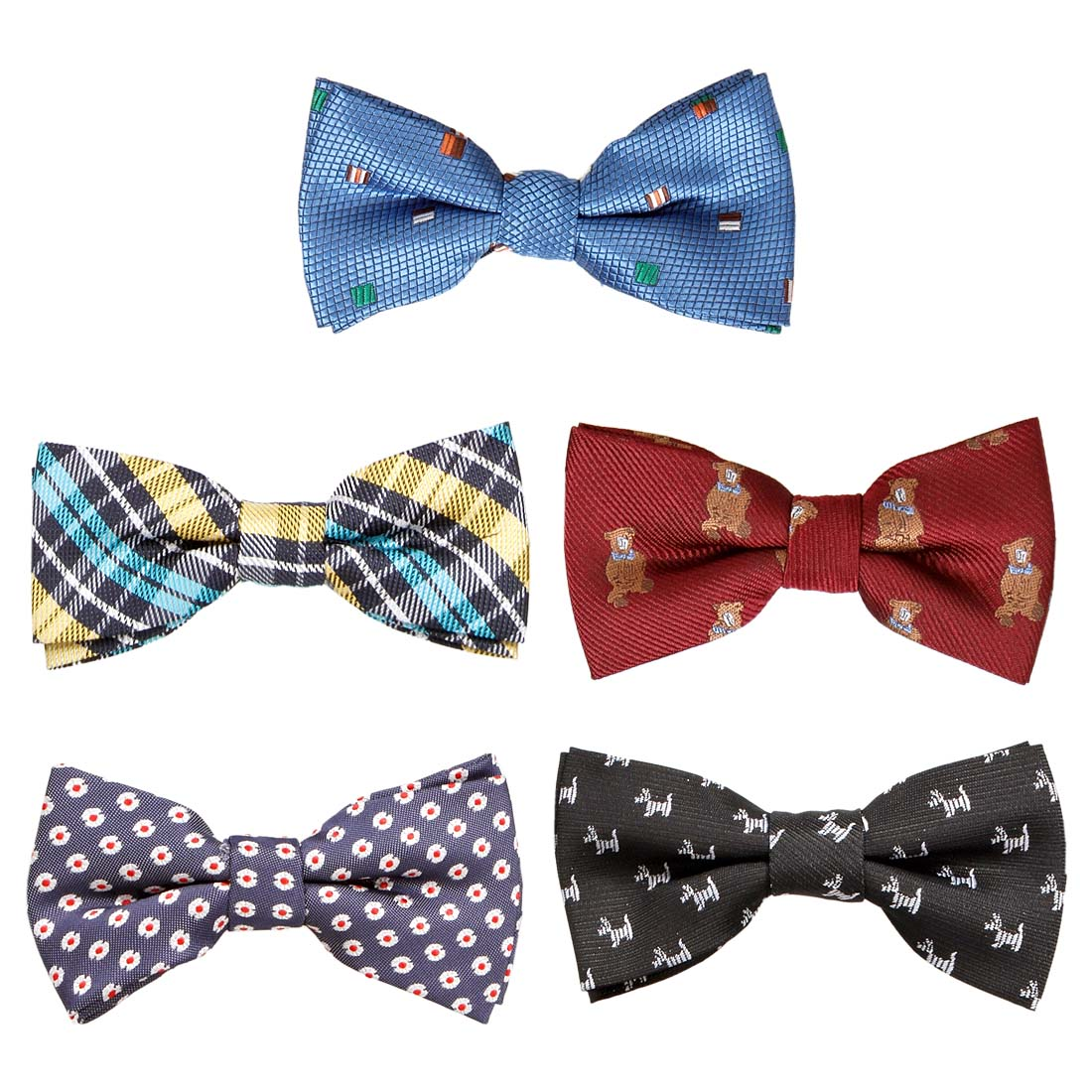 Bundle Monster Stylish 5in1 Adjustable Boys Bow Tie Collection - Various Designs