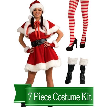 Santa Claus And Miss Claus (Miss Santa Claus Classic Womens Complete Costume Kit -)