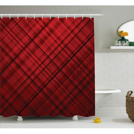 Red and Black Shower Curtain, Scottish Kilt Design Pattern with Stripes Lines Squares Ombre Image, Fabric Bathroom Set with Hooks, Burgundy and Scarlet, by Ambesonne