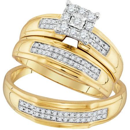 10kt Yellow Gold His & Hers Round Diamond Matching Bridal Wedding Ring Band Set 3/8 Cttw