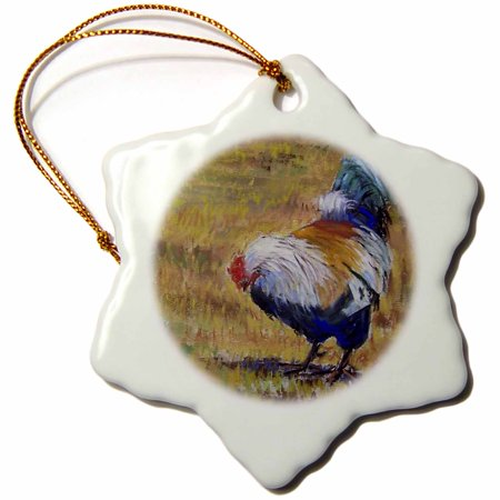 3dRose Beautiful Turquoise, White, Blue and Black feathered barnyard rooster. - Snowflake Ornament, 3-inch ()