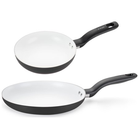 T Fal 8  10  Initiatives Ceramic Non Stick 2 Piece Fry Pan Set Cookware  Black