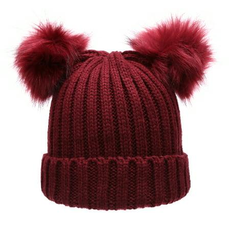 e2c60cba154 MIRMARU - MIRMARU Women s Winter Chunky Knit Double Pom Pom Beanie Hat -  Walmart.com