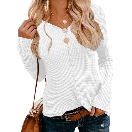 Women's Waffle Knit Tops Casual V-Neck Tunic Solid Color Long Sleeve Shirt