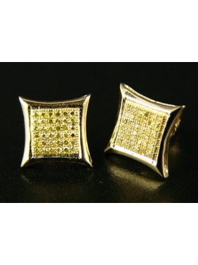 Mens/Ladies Canary On Yellow 10Mm Diamond Stud Earrings