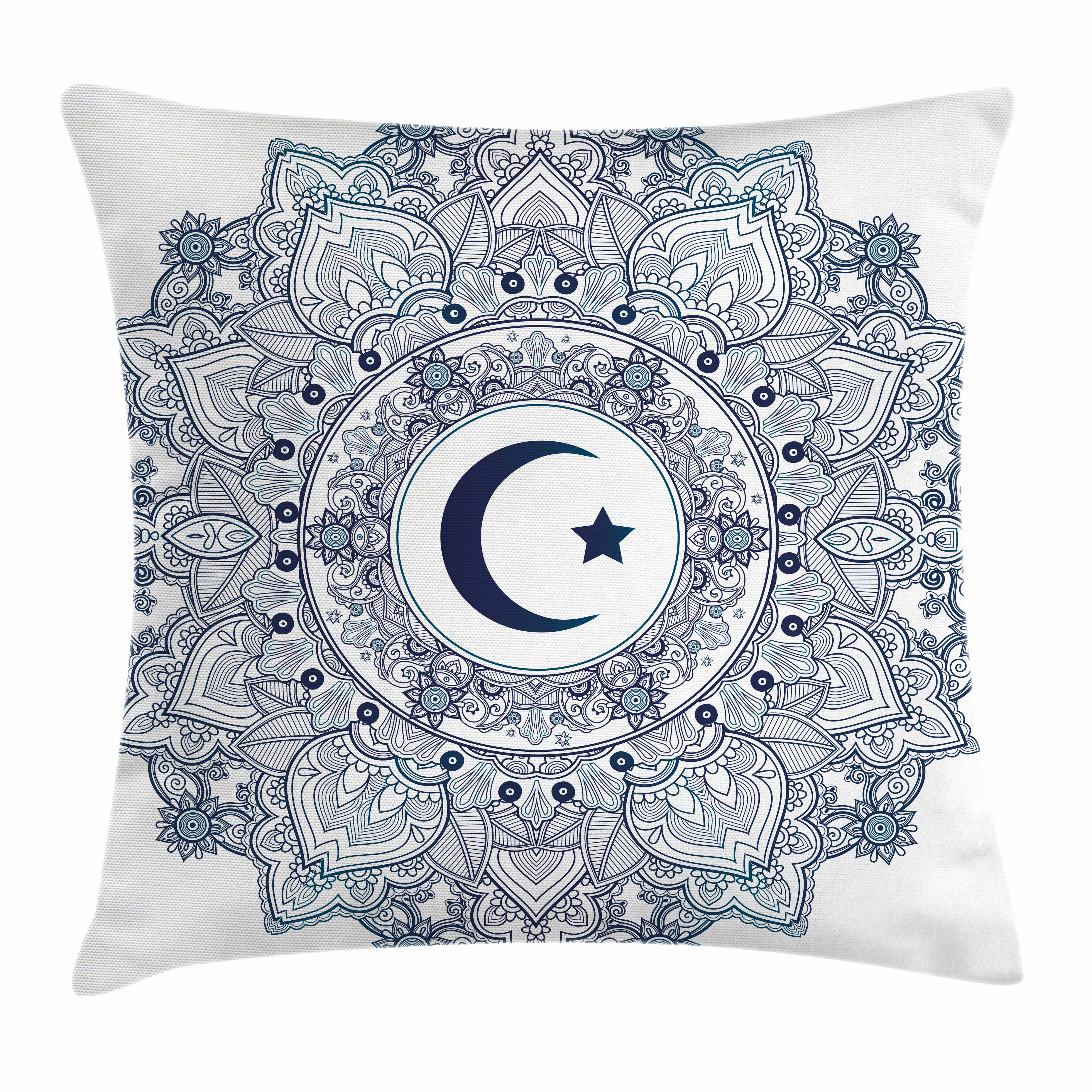 Moon Throw Pillow Cushion Cover, Islamic Symbol in Eastern Design Ramadan... by Kozmos