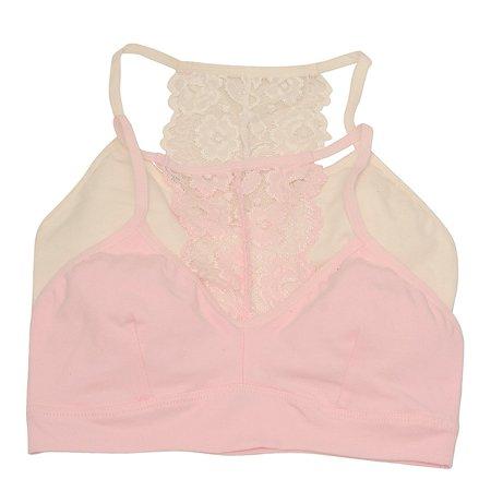 Sophia Cami - Girls Pink Ivory Lace Panel Back Spaghetti Strap 2 Pc Cami Bra Pack 7-8