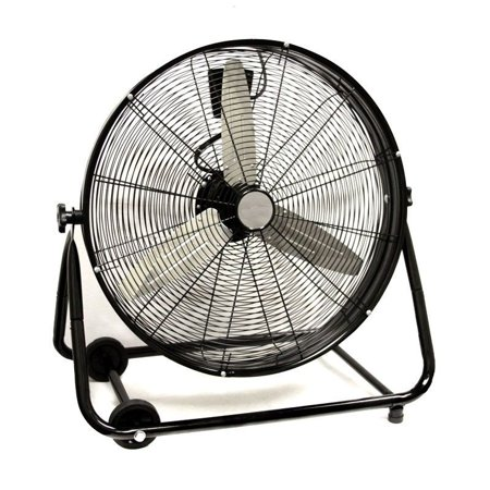 """GHP 24"""" High Velocity 220W 110V 3-Speed Setting Industrial Drum Fan with 2 Casters"""