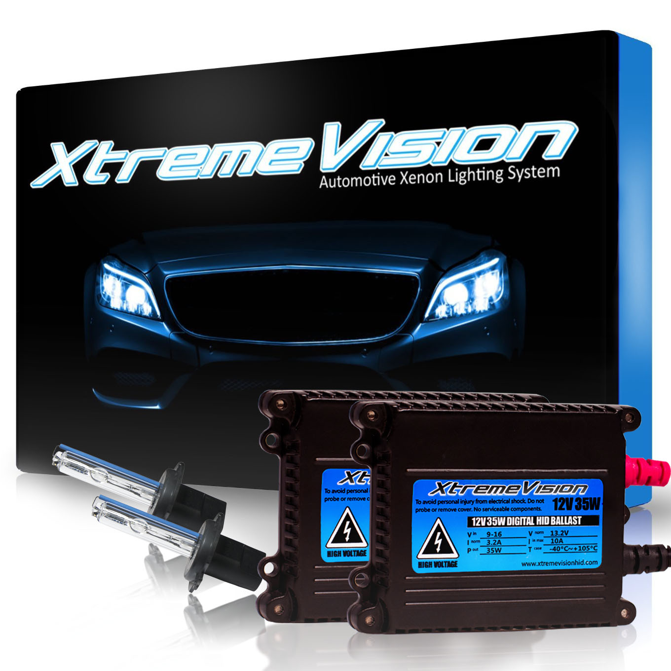 XtremeVision 35W HID Xenon Conversion Kit with Premium Slim Ballast - H7 30000K - Deep Blue - 2 ...