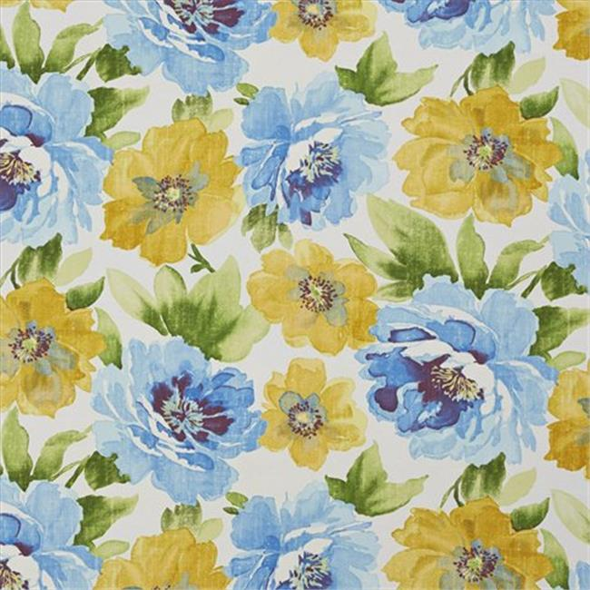 Designer Fabrics A259 54 in. Wide Outdoor Indoor Marine Upholstery Fabric, Yellow, Blue And Green