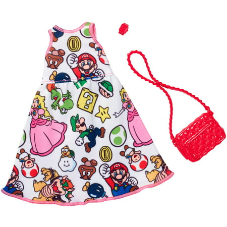 Barbie Clothing Super Mario Printed Dress Outfit for Barbie Doll
