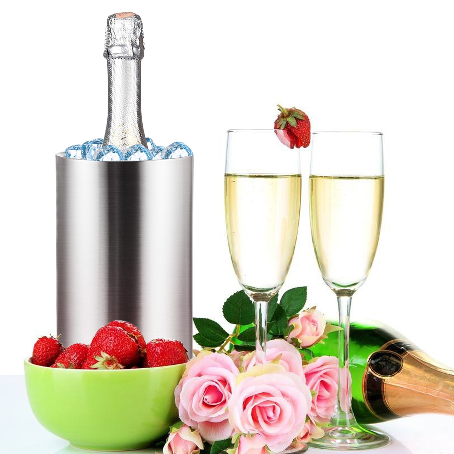 Bottle Cooler Double Walled Ice Bucket for Wine Champagne Ice Scoop BYE by