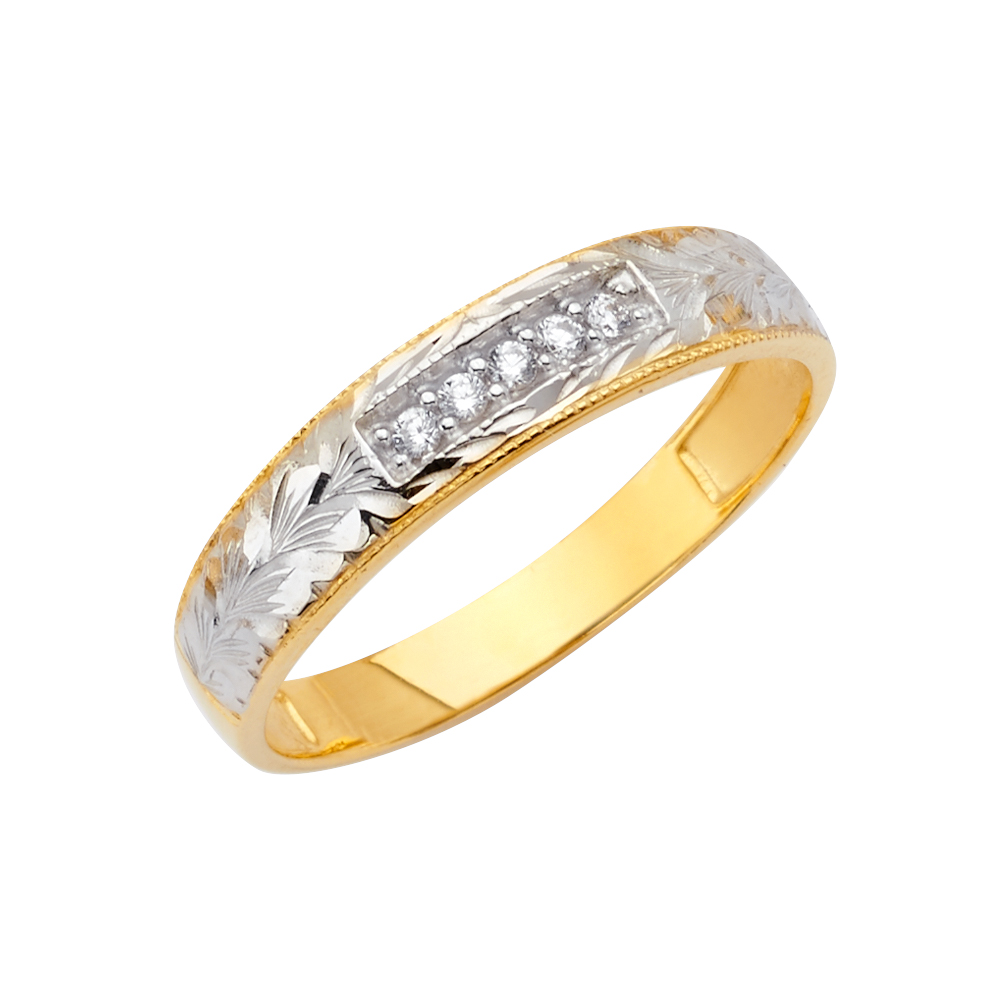 FB Jewels 14K White and Yellow Gold Ring Two Tone Mens Cubic Zirconia CZ Anniversary Wedding Band
