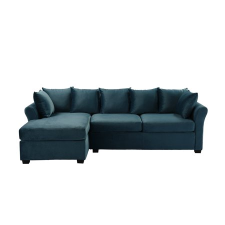 Classic L-Shape Couch Large Velvet Sectional Sofa with ...