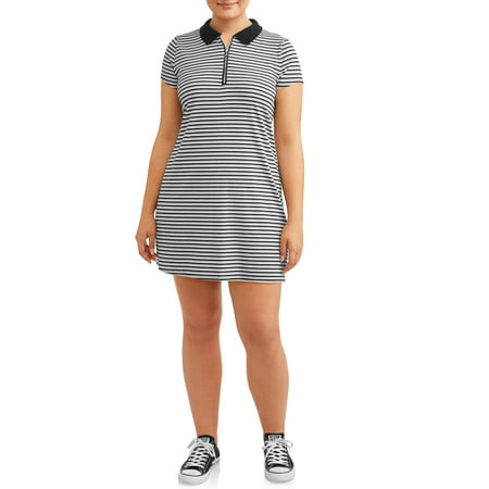 Juniors\' Plus Size Ribbed Polo Dress