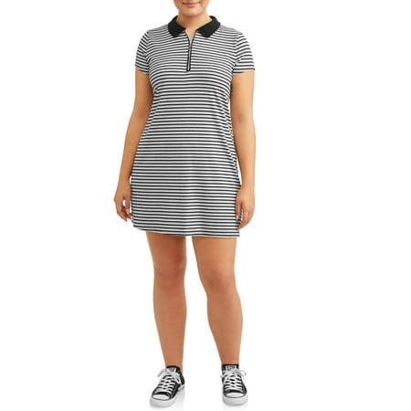 Juniors\' Plus Size Ribbed Polo Dress