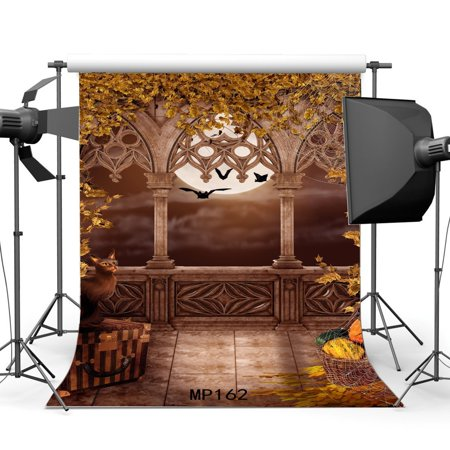 Halloween Horror Nights Doors Open (HelloDecor Polyster 5x7ft All Saints' Day Backdrop Halloween Horror Night Shining Moon Pumpkin Black Cat Leaves Vines Gothic Arch Door Bats Masquerade Photography Background Photo Studio)