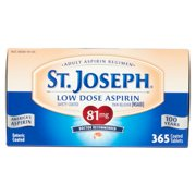 St. Joseph Low Dose Enteric Coated Pain-Relieving Aspirin, 81mg, 365 Tablets