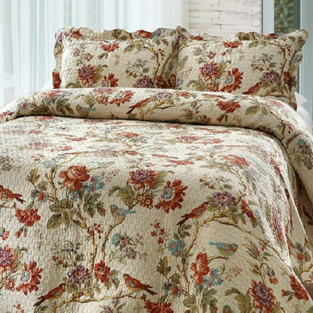 - Bay colony quilts by Patch Magic Finch Orchard Queen Quilt with two pillow shams  set