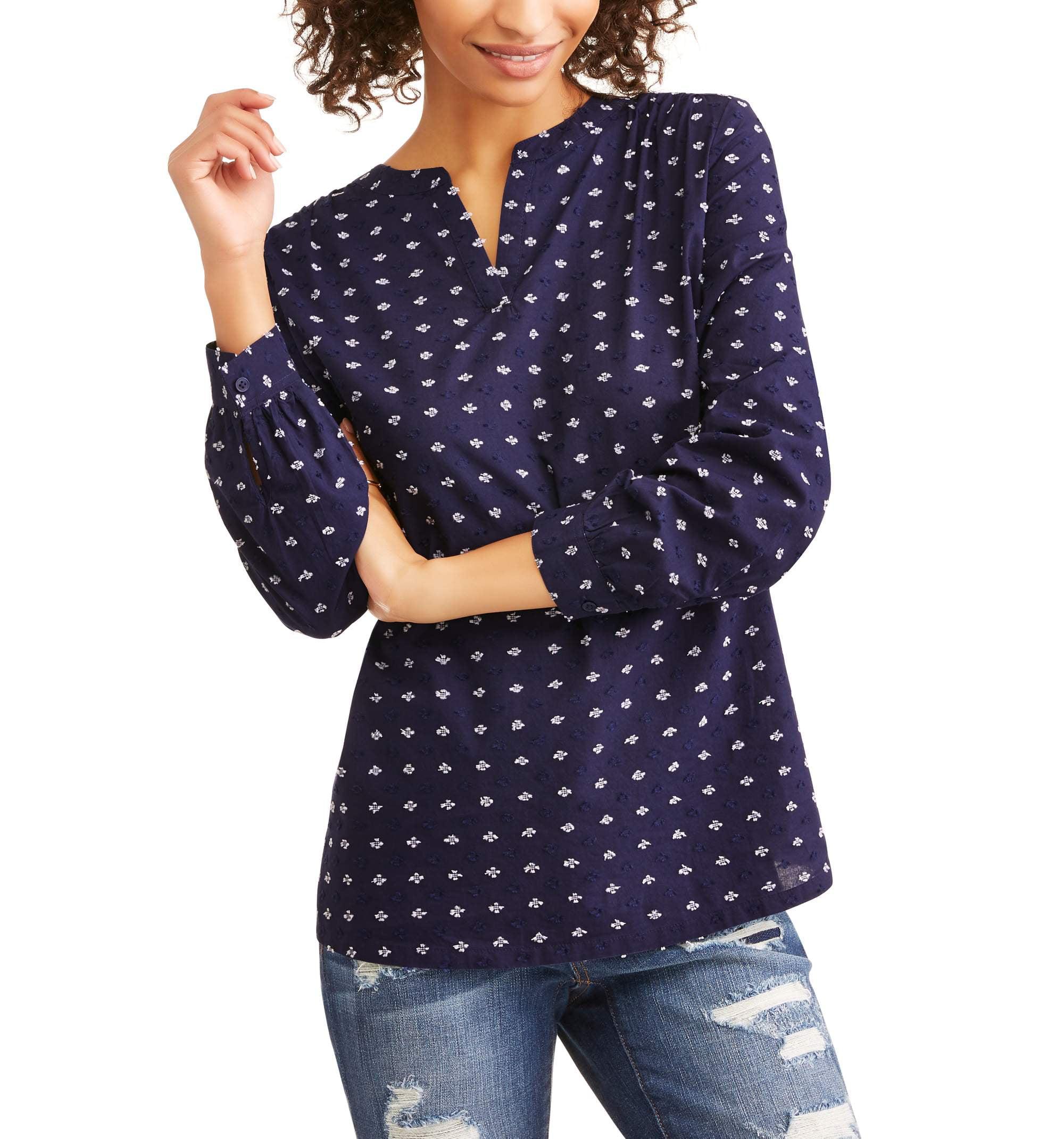 737eff125268fc Time and Tru - Women s Jaquard Clip Dot Popover Shirt - Walmart.com