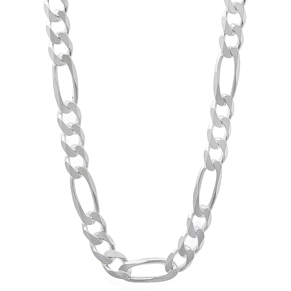 5.6mm 925 Sterling Silver Nickel-Free Flat Figaro Link Chain or Bracelet - Made in Italy + Bonus Cloth AKc3VqOGB