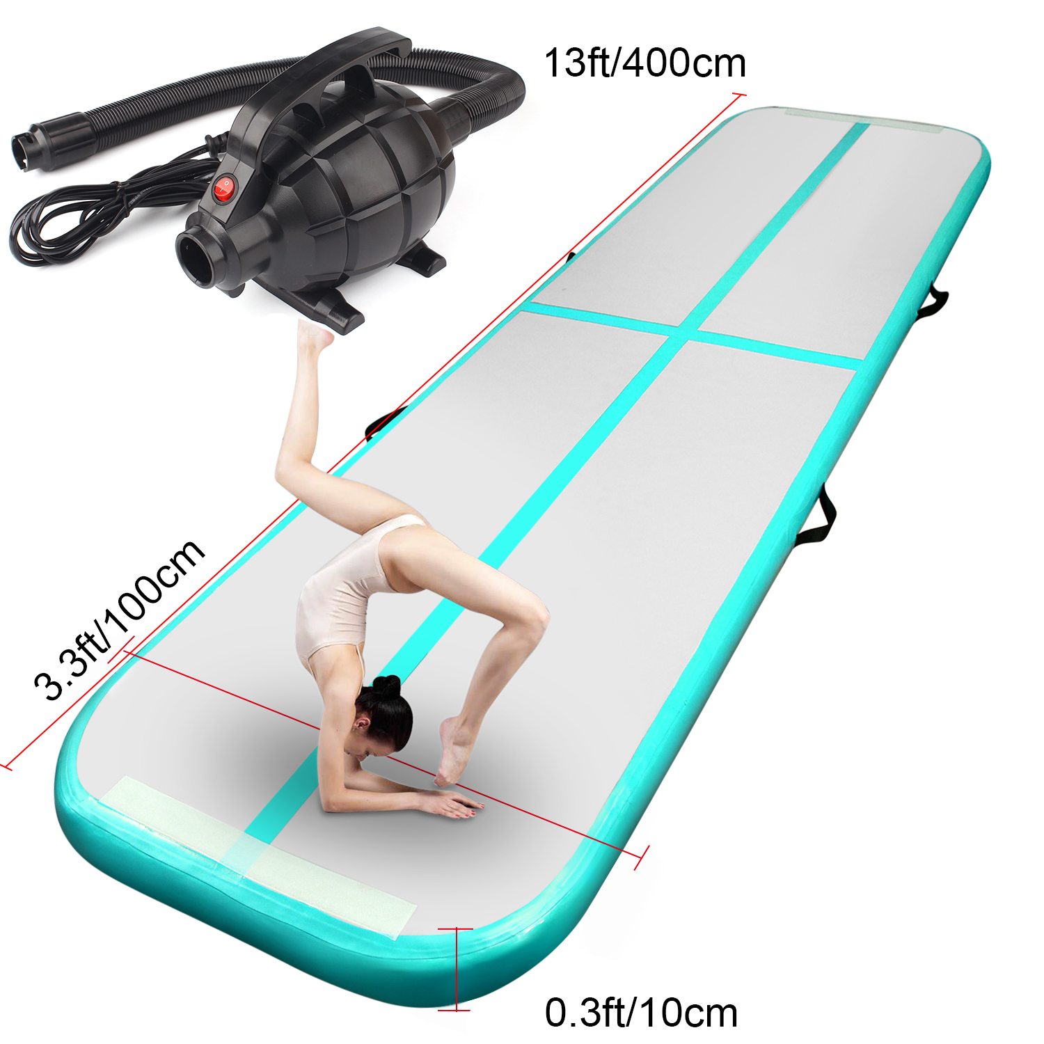 Green 4m/13ft Inflatable Air Track Tumbling Gymnastic Mat Floor Home Training W/ Pump Fbsport