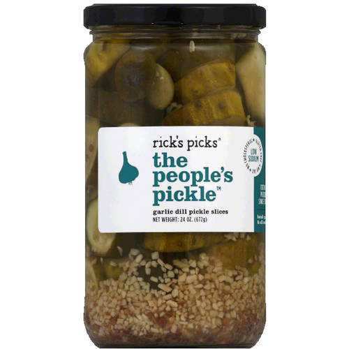 Rick's Picks The People's Pickle Garlic Dill Pickle Slices, 24 oz, (Pack of 6)