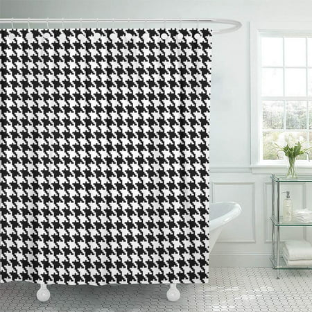 PKNMT Tooth Houndstooth Plaid Graphic Swatch Woven Contemporary Geometric Cool Shower Curtain Bath Curtain 66x72 inch