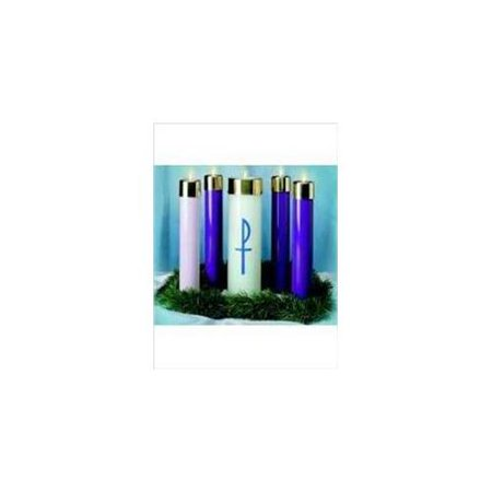 "Candle-Advent Candela Set-12"" x 2 5 / 8"" (3 Blue & 1 Pink w / Christ Candle)"