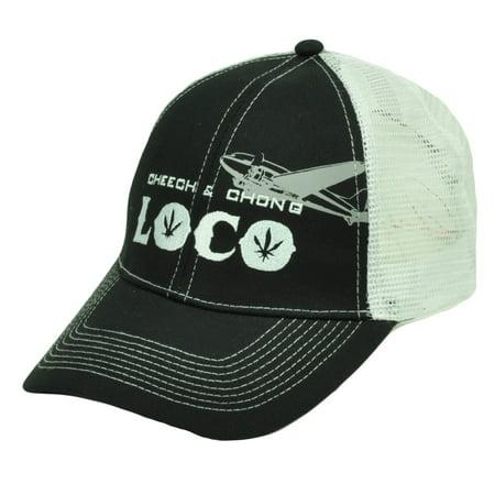 Cheech Chong Loco Marijuana Weed Mesh Black White Trucker Hat Cap Snapback Hat Wigwam Mills