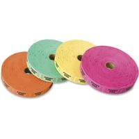 PM, PMC59002, Admit One Single Ticket Roll, 4 / Pack, Green,Magenta,Orange,Yellow