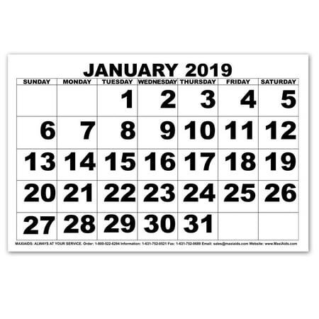 Low Vision Print Calendar - 2019 (Low Vision Large Print Calendar)