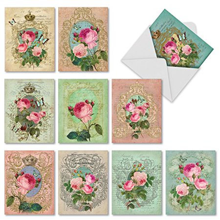 'M2379TYG ROMANCE AND ROSES' 10 Assorted Thank You Note Cards Featuring Romantic Vintage Styled Collage with Roses with Envelopes by The Best Card (Original Collage Card)