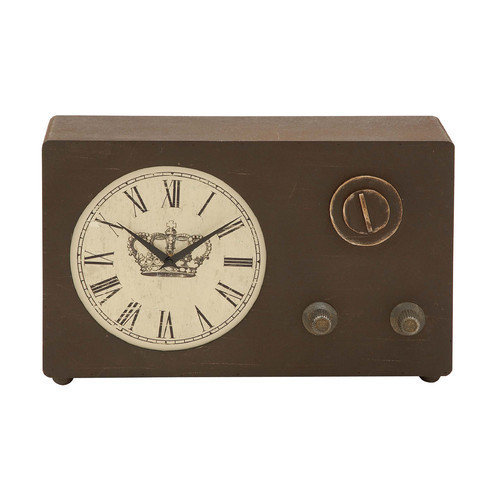 Woodland Imports Vintage Wood Clock with Roman Numerals