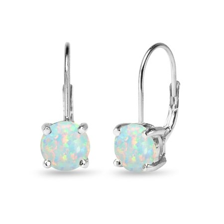 Glitzy Rocks  Dainty Polished 7mm Round Simulated Opal Leverback Earrings in Sterling Silver
