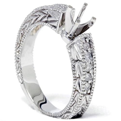 1/4ct Diamond Engagement Antique Like Ring Setting 14K