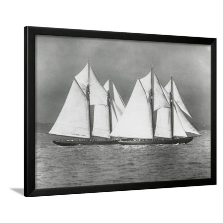 Sailing Vessels Offshore Framed Print Wall Art