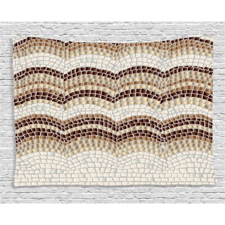 Beige Decor Tapestry  Gradient Color Mosaic Waves Setting Antique Roman Royal Aged Retro Pattern  Wall Hanging For Bedroom Living Room Dorm Decor  80W X 60L Inches  Beige Tan Brown  By Ambesonne