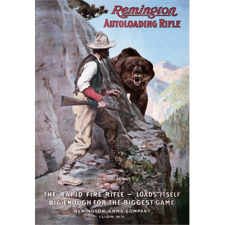 Remington Autoloading Rifle Right of Way Bear Hunting Retro Vintage Tin Sign - 13x16, 13x16 Multi-Colored