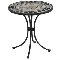 Home Styles Marble Bistro Table, Black/Gray