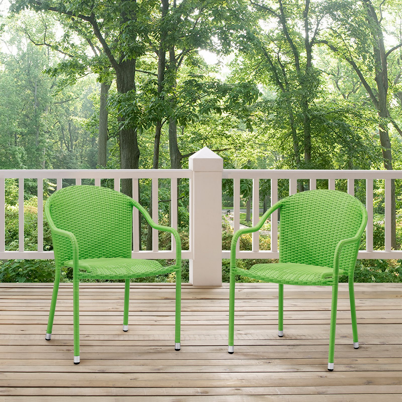 Crosley Palm Harbor Outdoor Wicker Stackable Chairs, Set of 2