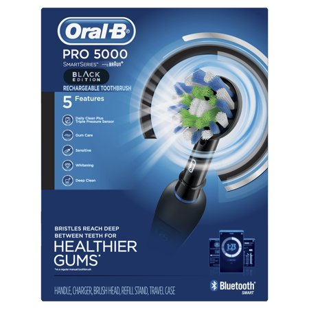 Oral-B Pro 5000 SmartSeries Electric Toothbrush with Bluetooth Connectivity, Black Edition, Powered by Braun