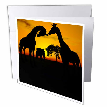 3dRose African Safari Silhouette of Giraffes and Elephant, Greeting Cards, 6 x 6 inches, set of 12