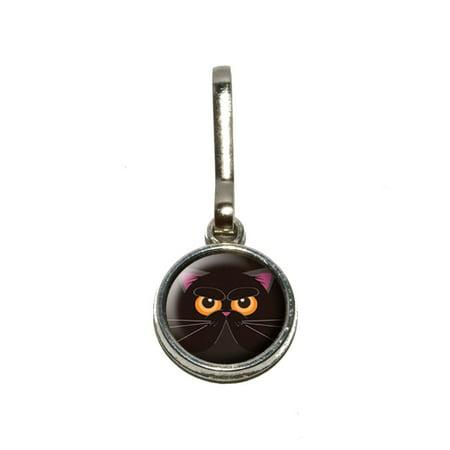 Black Persian Cat Face Charm Zipper -