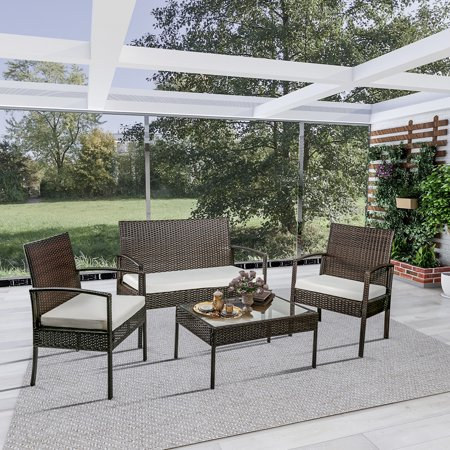 Top S Patio Furniture Set 4 Piece Outdoor Pool Lawn Backyard Rattan Wicker Cushioned Sofas Loveseat And Gl Coffee Table Conversation